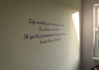 Muurschildering meisjeskamer roodkapje