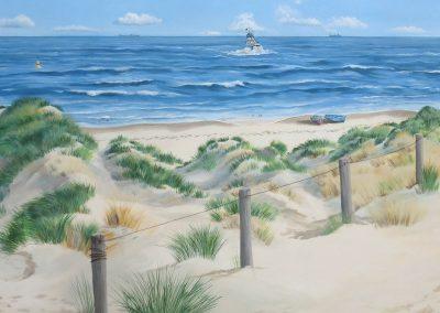 Muurschildering trompe-l'oeil zeegezicht