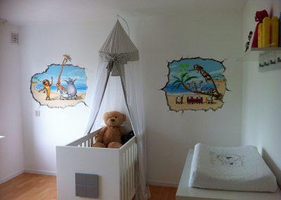 muurschildering babykamer madagascar