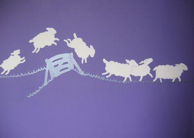 muurschildering babykamer schaapjes tellen