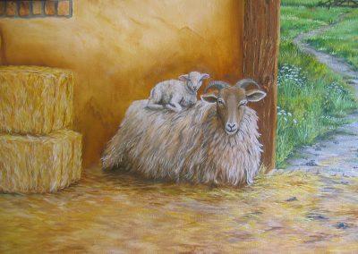 muurschildering diversen schapen stal