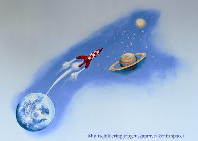muurschildering jongenskamer space