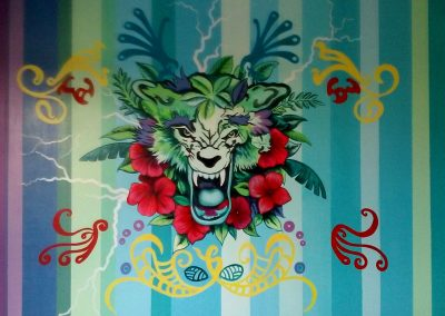 Muurschildering jongenskamer tijger en graffiti