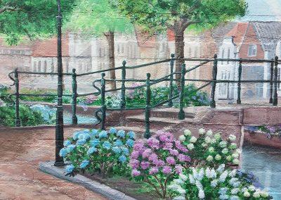muurschildering landschap gracht met brug
