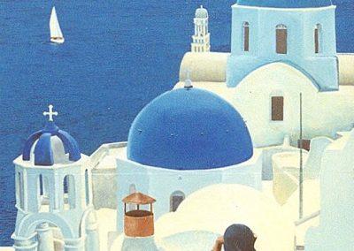 muurschildering landschap grieks restaurant