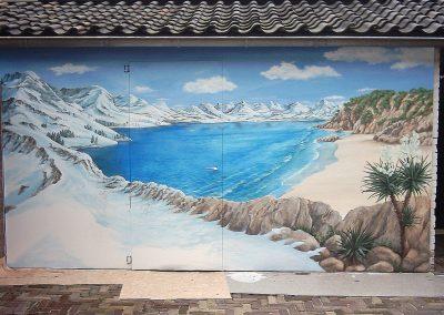 muurschildering landschap Spanje en Zwitserland