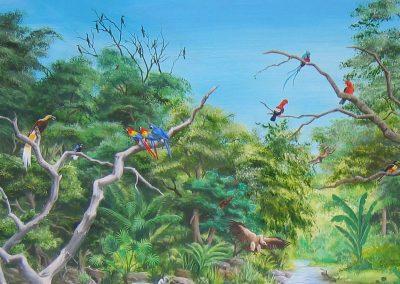 muurschildering landschap tropen