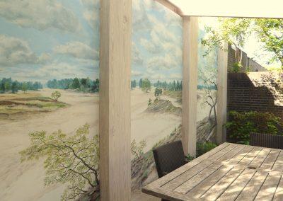 muurschildering landschap zandverstuiving