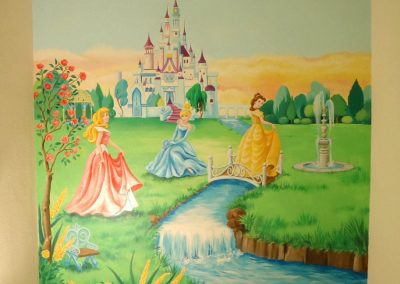 muurschildering meisjeskamer disney prinsessen