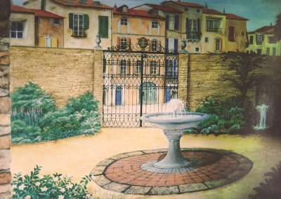 muurschildering trompe-l'oeil Italiaanse kantoortuin