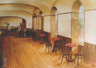 muurschildering trompe-l'oeil Italiaans café