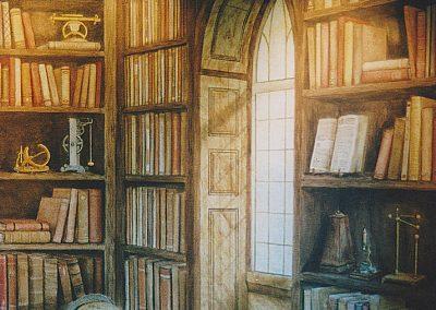 muurschildering trompe-l'oeil bibliotheek