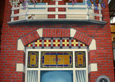 muurschildering trompe-l'oeil herenhuis gevel