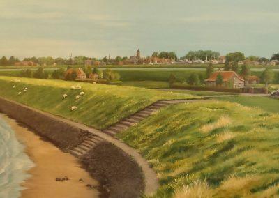muurschildering trompe l'oeil skyline tholen