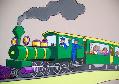 muurschildering babykamer trein
