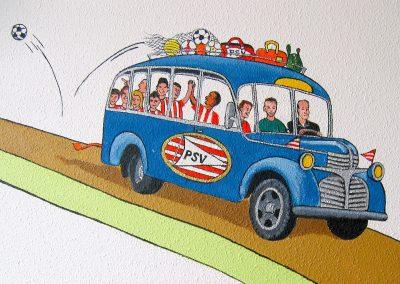 muurschildering babykamer transport