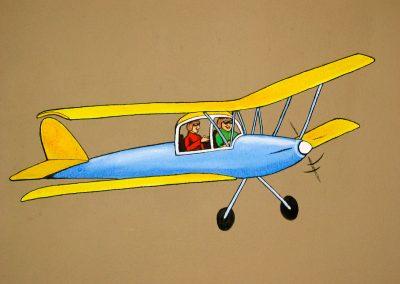 muurschildering babykamer vliegtuig