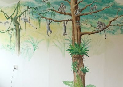 Muurschildering jongenskamer jungle maki's