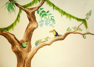 Muurschildering jongenskamer jungle apen