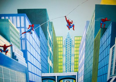 Muurschildering jongenskamer Spiderman
