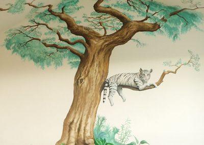 Muurschildering jongenskamer tijger