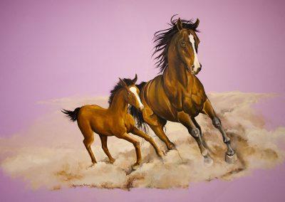 Muurschildering meisjeskamer paarden
